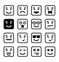 Square smiley faces set vector