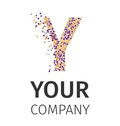 Alphabet particles logotype letter-y vector