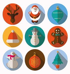 Set of modern style christmas flat icons vector