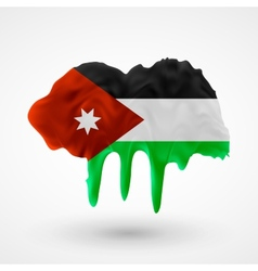 Flag of jordan painted colors vector