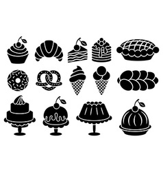 Sweet baked food silhouettes set vector