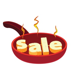 Hot frying pan sale vector