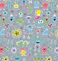 Cute monsters seamless patterns vector