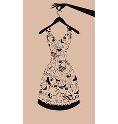 Woman dress from accessories vector