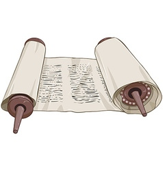 Traditional jewish torah scroll with text vector