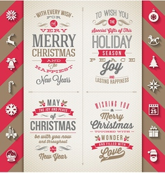 Set of christmas type designs and flat icons vector