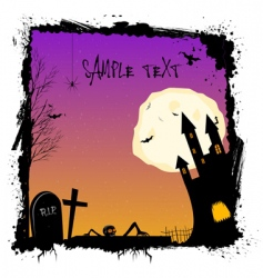 Halloween night with haunted castell vector