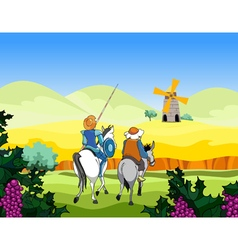 Riders on the horse and donkey ride to the mill vector