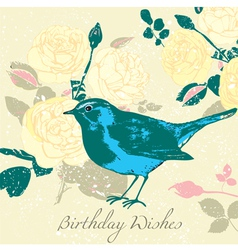 Vintage floral birthday card vector