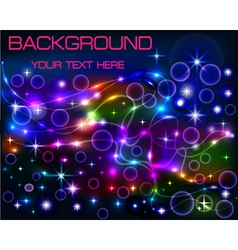 Bright shiny neon background with circles vector