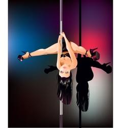 Pole dancer upside down vector