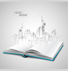 Opened book and drawing building sketches vector
