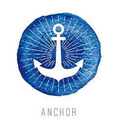 Watercolor nautical logo with an anchor vector