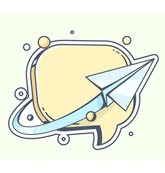 Blue paper plane flying around yellow spe vector