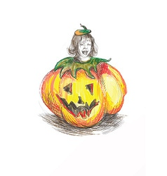 Pumpkin costume vector