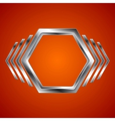 Abstract metal hexagon and arrows shape vector