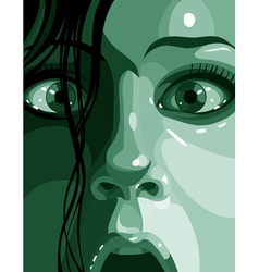 Surprised face in shades of green close up vector