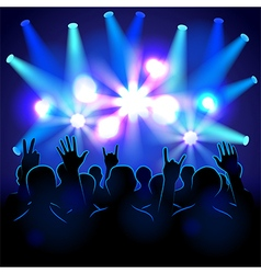 Silhouettes and lights on musical concert vector
