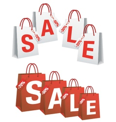 Sale with shopping bags and tags vector