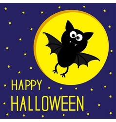 Flying bat starry sky and moon halloween card vector