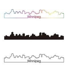 Winnipeg skyline linear style with rainbow vector