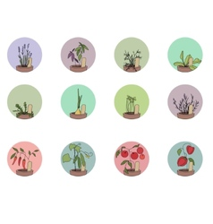 Hers and vegetables set of round icons vector