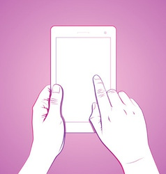 Hand touch tablet gesture vector