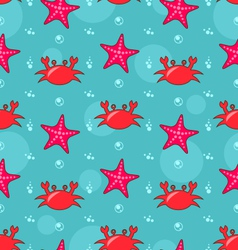 Seamless background with starfish and crabs vector