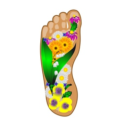 Foot with flowers vector