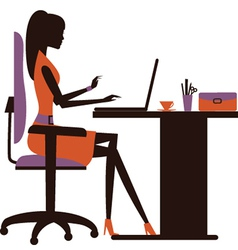 Silhouette of woman working on laptop vector