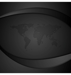 Black waves and world map vector
