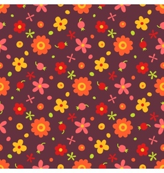 Seamless pattern with small flowers and berries vector
