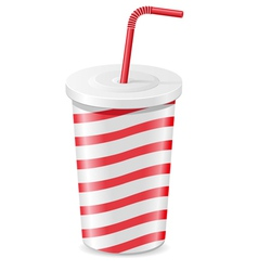 Paper cup with soda isolated on white background vector
