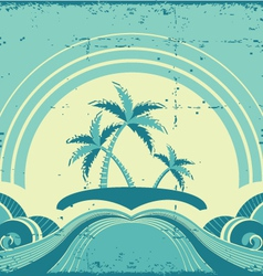 Vintage seascape with tropical palmsnature image vector