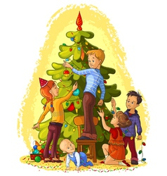 Kids decorating a christmas tree vector