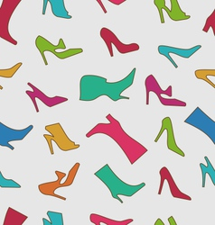 Seamless pattern with colorful women footwear vector