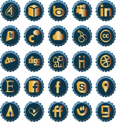 Bottle cap social media icons set 2 vector