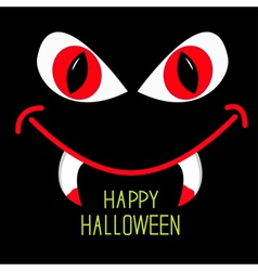 Evil red eyes and mouth with fangs halloween vector