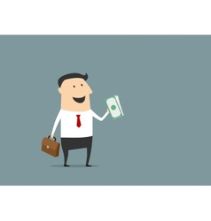 Happy businessman with briefcase and money vector