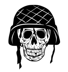 Skull in an army helmet vector