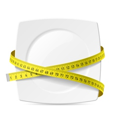Plate with measuring tape vector