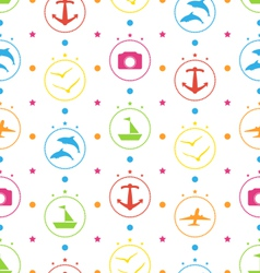 Travel seamless pattern with colorful elements vector