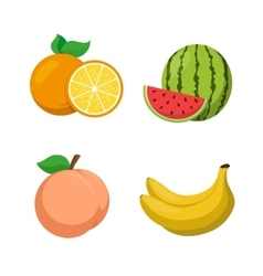 Orange peach banana watermelon vector