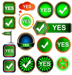 Yes icons set vector