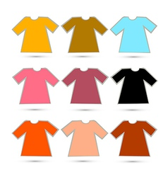 T-shirt set in retro colors isolated on white vector