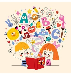 Cute kids reading book education concept vector