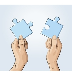 Two hands holding pieces of the puzzle vector