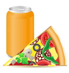 Pizza and aluminum cans with soda vector