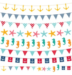 Marine bunting and garland set vector