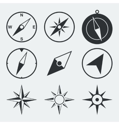 Navigation compass flat icons set vector
